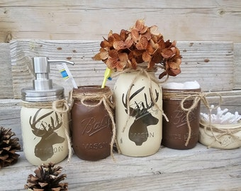 Deer Head Mason Jar Bathroom Set, Lodge Bathroom Decor, Boys Bathroom Decor, Deer Head Bathroom Decor, Rustic Cabin Bathroom Set, Brown, Tan