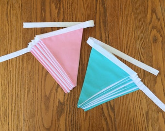 Fabric Bunting Banner (Pennant Banner) - Blue / White or Pink / White - Perfect for Baby Shower, Nursery Decor, Wedding Decor, Home Decor
