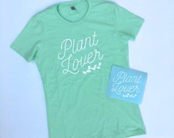 Plant Lover Women's Boyfriend Tee + Decal Bundle