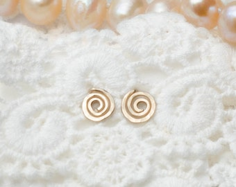 MOTHER DAY SALE - Gold Spiral Earrings - Gold Swirl stud earrings - Spiral Stud Earrings - Birthday gift