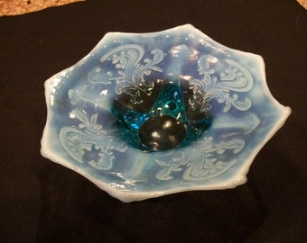 Blue/Turquoise Opalescent Vaseline Glass Footed Candy Dish