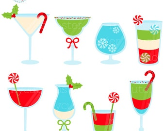 Christmas Cocktails Clipart - drinks, clip art set, holiday drinks, christmas, candy - personal use, small commercial use, instant download