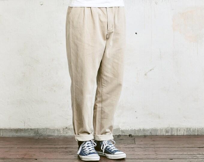 Beige Men Pants . Vintage 90s Beige Chino Pants Trousers Mens 90s Oldschool Pants 90s Nerd Trousers Dad Pants . size Large L