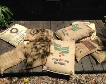 Upcycled coffee sack cushions