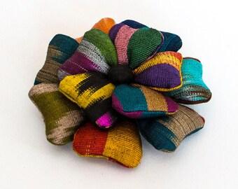 Rainbow flower pin Textile flower pin Uzbek ikat textile Boho chic brooch pin Flower corsage Fabric flower brooch Flower pin brooch