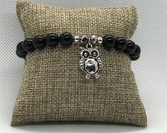 Onyx Bracelet with Owl charm, Stackable