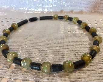 African Glass and Bakelite necklace // handmade beads and collectors item // yellow, green, white and black accessory // FREE SHIPPING