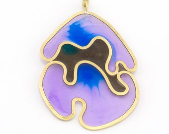 purple and blue resin pendant necklace, brass amoeba