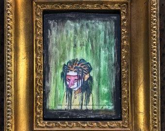 Michaela's Mask (original framed painting)