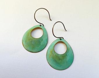 Verdigris Open Circle Earrings