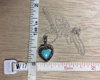 "Vintage 16"" 925 Sterling Silver 2.6g Necklace Marcasite Turquoise Heart Used"