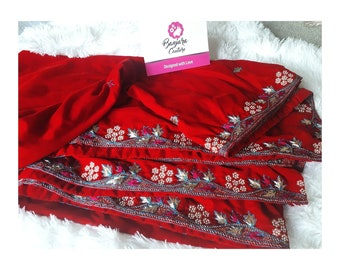 Red velvet shawl with hand embroidery