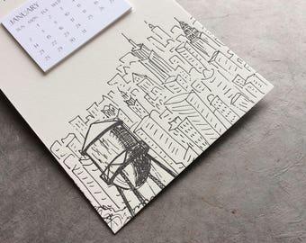 New York Cityscape Postcard Calendar