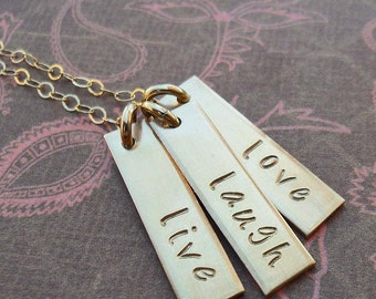 Live Laugh Love Gold Bar Necklace- Inspirational Necklace- Gold Fill and Bronze- S199