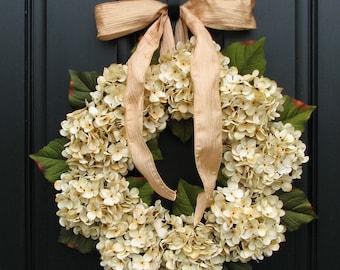 Hydrangea Wreaths, Fall Wedding Decor, Wedding Wreaths, Champagne, Front Door Wreath, Holidays