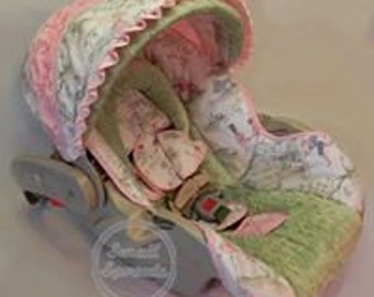 Nursery Rhyme/Pin Tuck Pink/Sage Minky Dot infant baby 5 piece car seat cover set