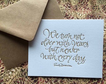 Birthday or Anniversary Letterpressed Calligraphic Greeting Card