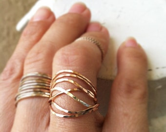 Set of 7 wavy stack rings,hammered, 14k gold filled, 14k rose gold filled, sterling silver