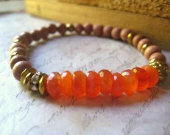 Carnelian Bracelet, Rosewood Beads, Natural Wood, Shaded, Hematite Gems, Semi Precious, Stretch Bracelet