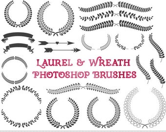 Laurel Photoshop Brushes Wreath Photoshop Brushes Branch Photoshop Brushes Silhouette Brushes Wedding Photoshop Brushes Laurel Digital Stamp