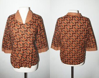 VINTAGE Oriental Batik 60s Blouse / Size Medium