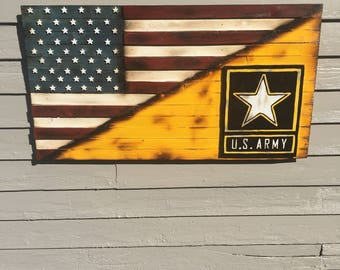 Spilt American Flag and US Army