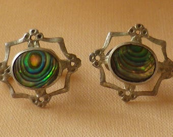 Mid Century Sterling Silver Abalone Shell Screw On Earrings