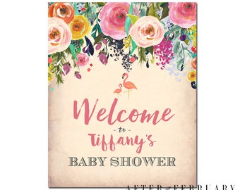 Flamingo Baby Shower Welcome Sign Tropical Baby Girl Shower Decoration Printable Sign Signage No.94BABY