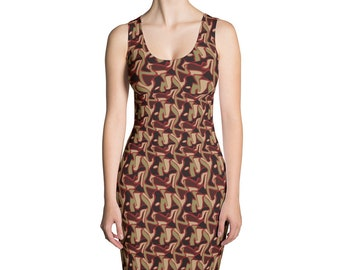 Olive Camouflage Dress Abstract Stretch Dress