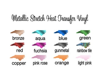 """NEW Color Added!! Stretch Metallic HTV - 12x14"""" Sheets Metallic Heat Transfer Vinyl Pick Your Color!"""