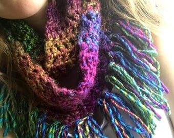 Multicolor Crochet Infinity Scarf with Fringe in Bright Rainbow Colors