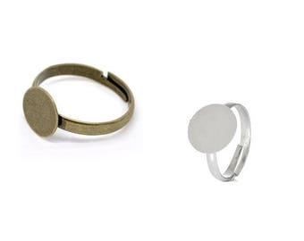 Ring with adhesive plate, ring blank pad, finger ring, version, Cabochon, bonding stone, adjustable, silver, bronze