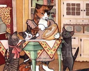 Kitchen Kitties Cat Retro Art Signed Print