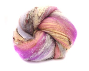 Art Batt / Spinning Fiber - Superwash Merino Mulberry Silk Vegan Cashmere - Crazy Soft
