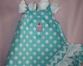 Aqua chevron and polka dot birthday outfit  Reversible with Sassy Ruffle bloormers or long pants to Match