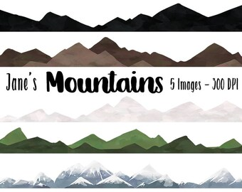 Watercolor Mountain Clipart - Repeatable Pattern Download - Instant Download - Faux Watercolor Seamless Mountains