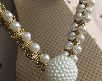 Gold & Pearl handmade flip-flop embellished