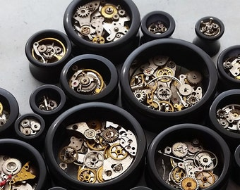 Steampunk Style Cog Plugs / Tunnels Double flare With Brass & Steel Cogs Sizes 8mm / 10mm / 12mm / 14mm/ 16mm/18mm/19mm/22mm/24mm/25mm /30mm