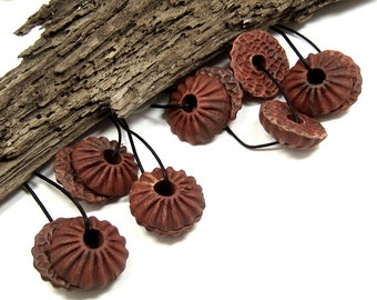 Handmade Ceramic Stoneware Anemone Beads Fluted Face with Flat Textured Back, Large Center Hole, Terra Sigillata Finish, Jewelry Components