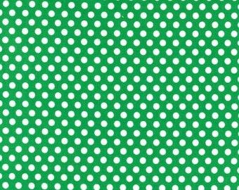 Polka dot fabric -Michael Miller Kiss dot-Kiss dot fabric-green polka dot fabric-Michael Miller fabric-green kiss dot fabric-quilting cotton