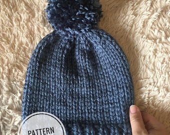 Simple knitted Beanie, beginner beanie ***PATTERN ONLY ***