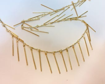 Gold chain fancy stick 25mm for jewelry designs