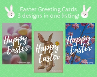Happy Easter greeting cards set, Printable greeting card for Easter, 3 styles greeting card for Easter, Easter eggs printable gift card,
