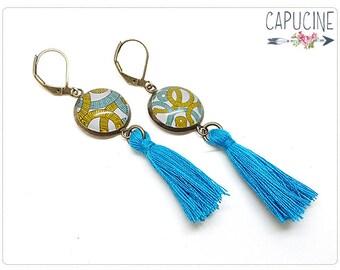 Circles earrings - Chandelier earrings - Tassel earrings - Glass dome circles earrings
