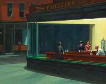 Edward Hopper : Nighthawks (1942) Canvas Gallery Wrapped Giclee Wall Art Print (D465)