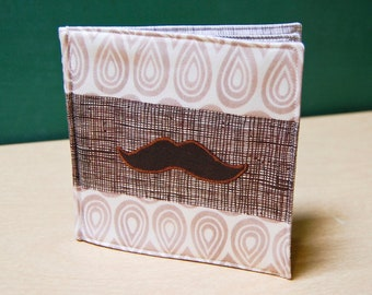 CLEARANCE Mustaches Cloth Book, printed on organic cotton