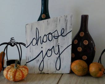 Choose Joy-Farmhouse Wooden Sign, White wash, blue, country home decor, reclaimed wood, inspirational, ranch home