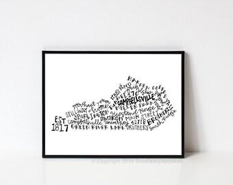 Hand lettered CAMPBELLSVILLE Kentucky Word Art Print // 8x10