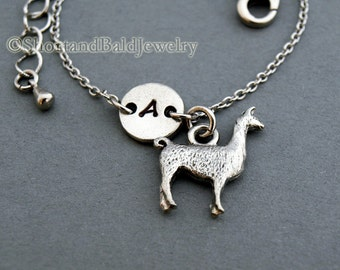 Llama charm bracelet, Lama glama, antique silver, initial bracelet, friendship, mothers, adjustable, monogram
