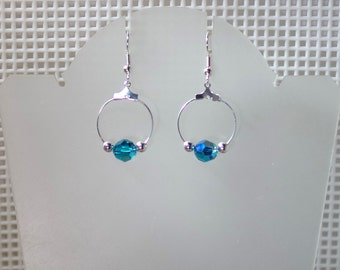 Swarovski Crystal Earrings - Shown in Blue Zircon AB - Several Colors Available